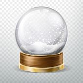 Realistic Glass Ball With Fallen Snow, Snowfall Inside Isolated On Transparent Background, Crystal G poster