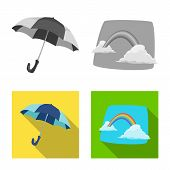 Isolated Object Of Weather And Climate Icon. Collection Of Weather And Cloud Stock Symbol For Web. poster