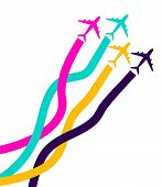 Banner With Colorful Airplanes. Business Avia Card With Four Airplanes With Tapes. Travel Of Airplan poster
