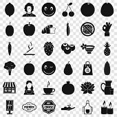 Vegetarian Burger Icons Set. Simple Style Of 36 Vegetarian Burger Icons For Web For Any Design poster