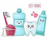Kawaii Healthy Tooth And Dental Floss, Toothpaste, Brush - Best Friends Of Teeth, Cute Cartoon Chara poster