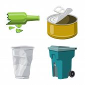 Vector Design Of Environment And Waste Icon. Set Of Environment And Ecology Vector Icon For Stock. poster