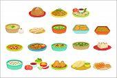 Indian Food Signature Dishes Illustration Set. Traditional Cuisine Restaurant Menu Plates In Simplif poster