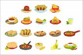 Mexican Food Signature Dishes Illustration Set. Traditional Cuisine Restaurant Menu Plates In Simpli poster
