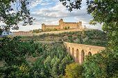 Ponte Delle Torri Medieval Bridge And Rocca Albornoziana Hilltop Fortress In Spoleto, Province Of Pe poster