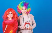 Its Time To Celebrate. Little Girls Wearing Crazy Wigs Going To Party Night. Cute Children With Fanc poster