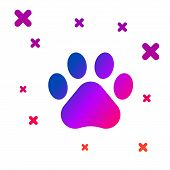 Color Paw Print Icon Isolated On White Background. Dog Or Cat Paw Print. Animal Track. Gradient Rand poster