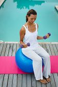 High angle view of fit mixed-race woman exercising with dumbbells while sitting on a exercise ball n poster