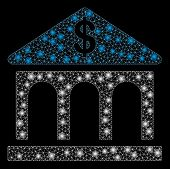 Flare Mesh Classic Bank Building With Lightspot Effect. Abstract Illuminated Model Of Classic Bank B poster