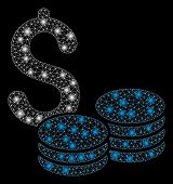 Glossy Mesh Coins Money With Glitter Effect. Abstract Illuminated Model Of Coins Money Icon. Shiny W poster