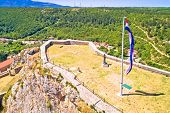 Knin Fortress Plateau Nad Large Croatian Flag Aerial View, Dalmatian Hinterland, Croatia poster