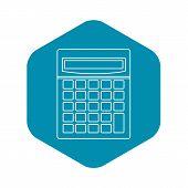 Calculator Math Device Icon. Outline Illustration Of C Alculator Math Device Icon For Web poster