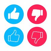Thumb Up And Down, Inscribed In Circles. Like Icon. Set Of Thumb Up And Down Icons For Use In Advert poster