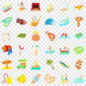Time Of Adventure Icons Set. Cartoon Style Of 36 Time Of Adventure Icons For Web For Any Design poster
