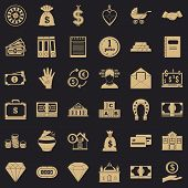 Bank Deposit Icons Set. Simple Style Of 36 Bank Deposit Icons For Web For Any Design poster