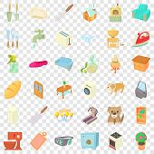 Comfortable Home Icons Set. Cartoon Style Of 36 Comfortable Home Icons For Web For Any Design poster