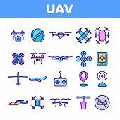Uav, Remote Control Drones Linear Icons Set. Uav, Unmanned Aircraft System Outline Symbols Pack. Hig poster