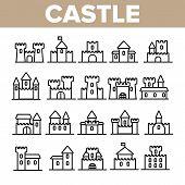 Castle, Medieval Buildings Linear Icons Set. Castle, Palace Facade Symbols Pack. Exterior Simple Pic poster