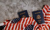 Passport Of Usa Covered By American Classic Passport On Us Flag. Personal Documents On Usa poster