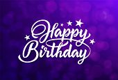 Happy Birthday White Hand Lettering Inscription On Purple Background. Ready Text For Use In Print De poster