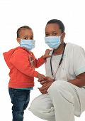 stock photo of male nurses  - Black African American nurse with child isolated metisse stethoscope infirmiere - JPG