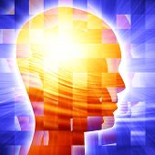 stock photo of mental_health  - Human head silhouette with focus on the brain - JPG