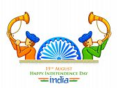 Illustration Of Men Blowing Tutari Horn Showing Welcome On India Background For Happy Independence D poster