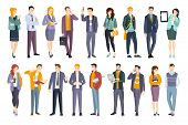 Young Professional Confident People Set. Man And Women Wearing Modern Dress Code Office Clothing Fla poster
