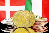 Concept For Investors In Cryptocurrency And Blockchain Technology In The Denmark And Italy. Bitcoins poster