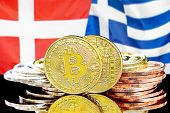 Concept For Investors In Cryptocurrency And Blockchain Technology In The Denmark And Greece. Bitcoin poster