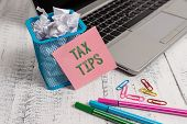Writing Note Showing Tax Tips. Business Photo Showcasing Compulsory Contribution To State Revenue Le poster