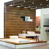 picture of lavabo  - Contemporary bathroom with wooden walls and spa bathtub - JPG