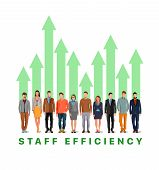Business And Employees. Productivity At Work. Team Work Chart For Business. Chart Of Green Arrows In poster