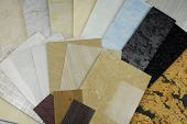 pic of tile cladding  - closeup of the plastic marble panels  samples - JPG