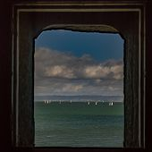 A View Of Part Of The San Francisco Bay In The Morning Viewed From A Window At Fort Point  Featuring poster