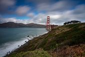 Panoramic View Of The Golden Gate Bridge In The Morning Viewed From The Golden Gate Overlook In San  poster