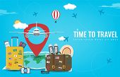 Travel Background With Luggage, Airplane, World Map And Other Equipment. Travel And Tourism Concept. poster