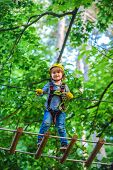 Happy Little Child Climbing A Tree. Early Childhood Development. Adventure Climbing High Wire Park.  poster