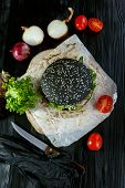 Black Burger With Tomatoes And Peking Cabbage poster