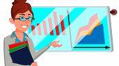 Broker Female . Stock-market Broker. Charts, Data Analyses. Trading Stocks Online. Computer Screen.  poster