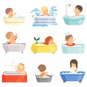 Cute Little Kids Bathing And Playing In Bathtub Set, Adorable Boys And Girls In Bathroom, Daily Hygi poster