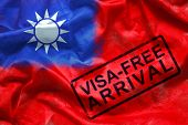 Free Visa For Visitor To Entry To Taiwan Country, Visa Free Arrival Stamp On Taiwan Flag Background. poster
