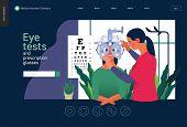 Medical Tests Template - Eye Tests And Prescription Glasses -modern Flat Vector Concept Digital Illu poster