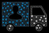 Glowing Mesh Passenger Transport Van With Glare Effect. Abstract Illuminated Model Of Passenger Tran poster