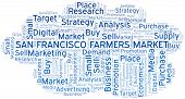 San Francisco Farmers Market Word Cloud. Vector Made With Text Only poster