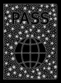 Flare Mesh Passport With Lightspot Effect. Abstract Illuminated Model Of Passport Icon. Shiny Wire F poster