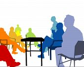 stock photo of business meetings  - colorful business meeting on a white background - JPG