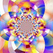 Colorful geometric fractal. Mondrian Inspired. Artwork for creative graphic design. 3D rendering poster