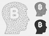 Mesh Mental Bitcoin Model With Triangle Mosaic Icon. Wire Carcass Triangular Mesh Of Mental Bitcoin. poster