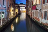 Small Canal Connecting To Grand Canal In Venice At Night poster